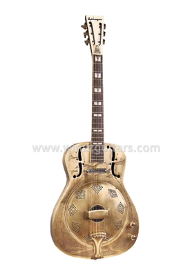 Metal Engraving Round Neck Resonator Guitar (RGS102)