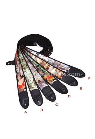 High Quality Colorful print picture Leather Guitar Straps(SL702)