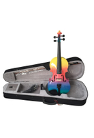 Rainbow colored all solid violin with case(VG105-RB)