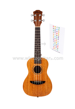 All Mahogany Plywood Ukulele With Finger Note Sticker (AU07L)
